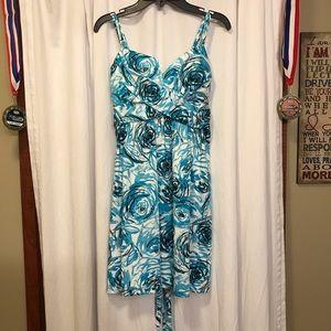 As U Wish blue and white rose print dress size 5